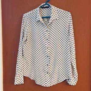 Zara Woman black and white polka dot blouse sz L